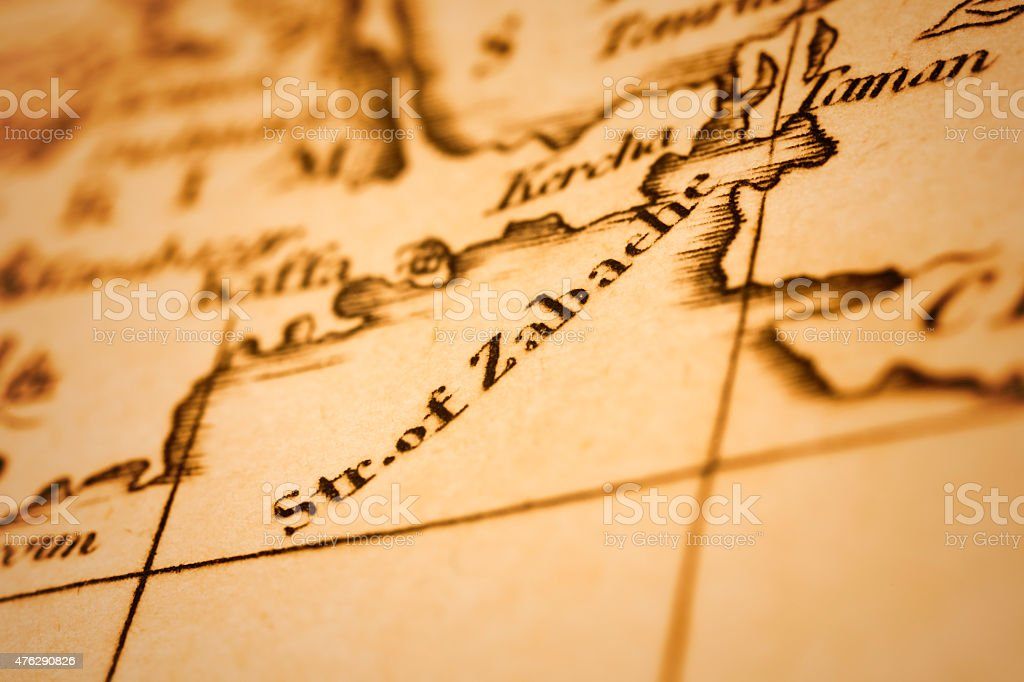 Strait of Zabaehe (Kerch Strait) on an Antique map stock photo