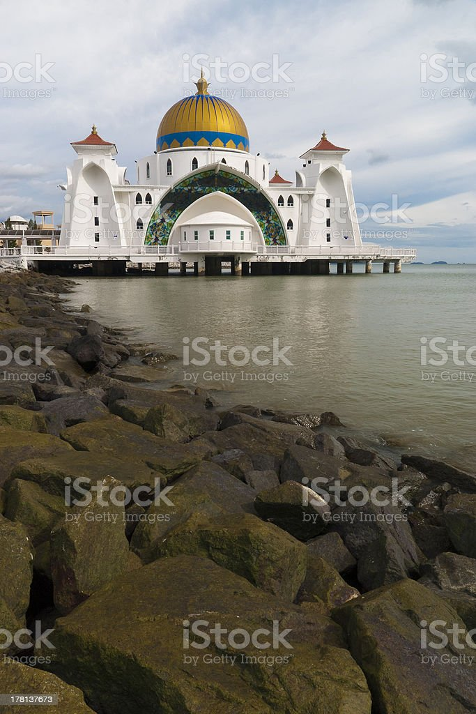 Straits of Malacca Mosque stock photo