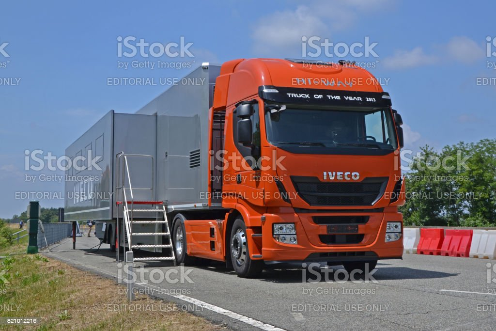IVECO Stralis tractor with mobile office on the semi-trailer stock photo