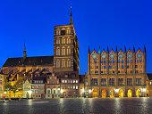 Stralsund, Germany. Night view of Nicholas' Church and City Hall.