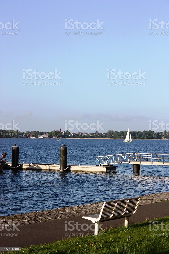 Stralsund waterfront, view to Baltic Sea under blue sky stock photo