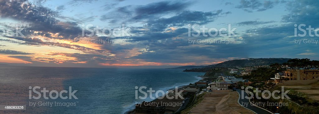 Strand Beach in Dana Point at sunset stock photo