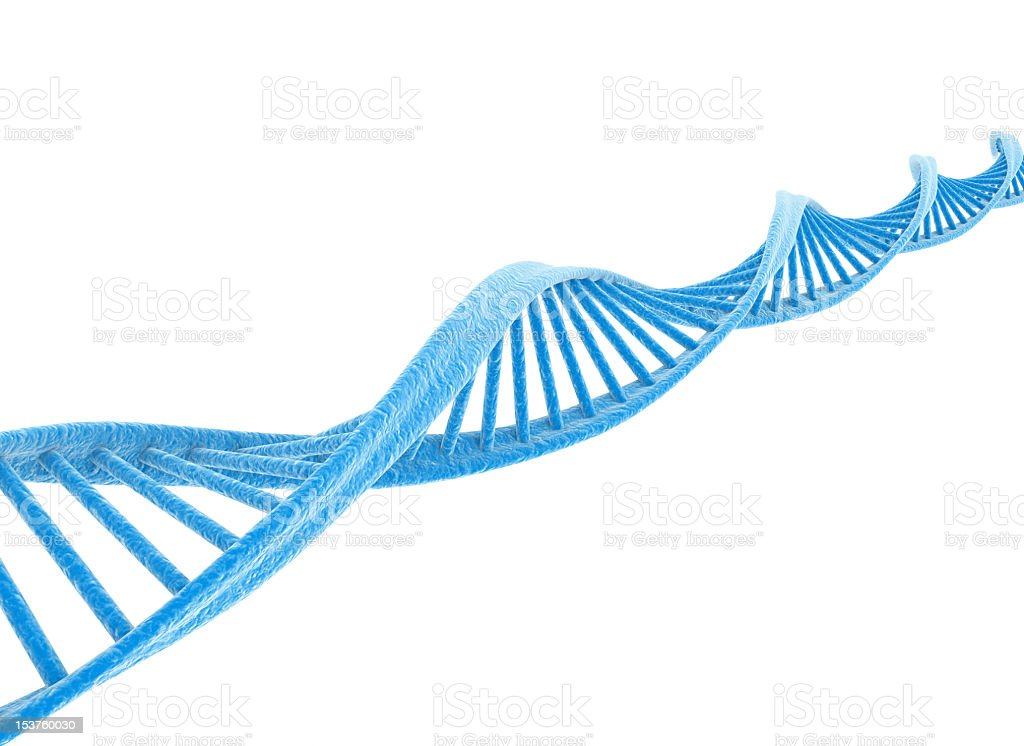 DNA strand graphic in blue on white royalty-free stock photo