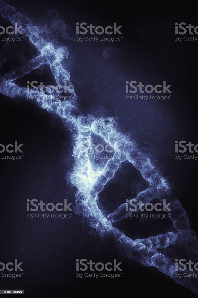3D DNA strand with smoke effect stock photo