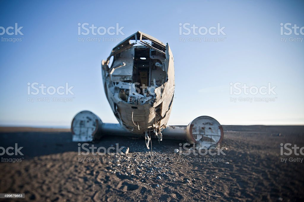 Stranded airplane in Iceland royalty-free stock photo