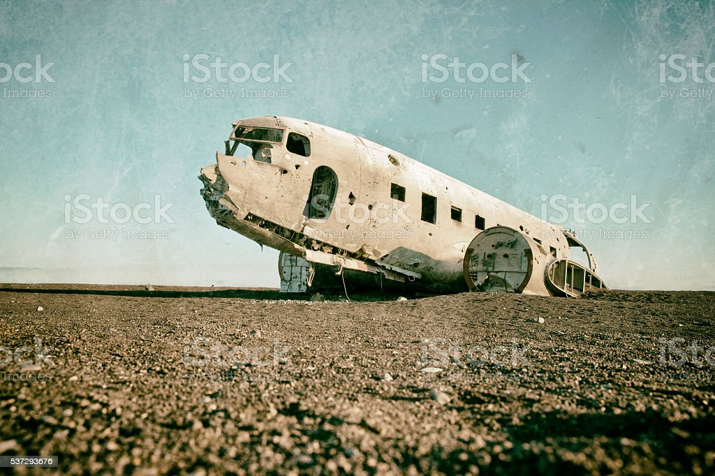 Stranded airplane in Iceland stock photo
