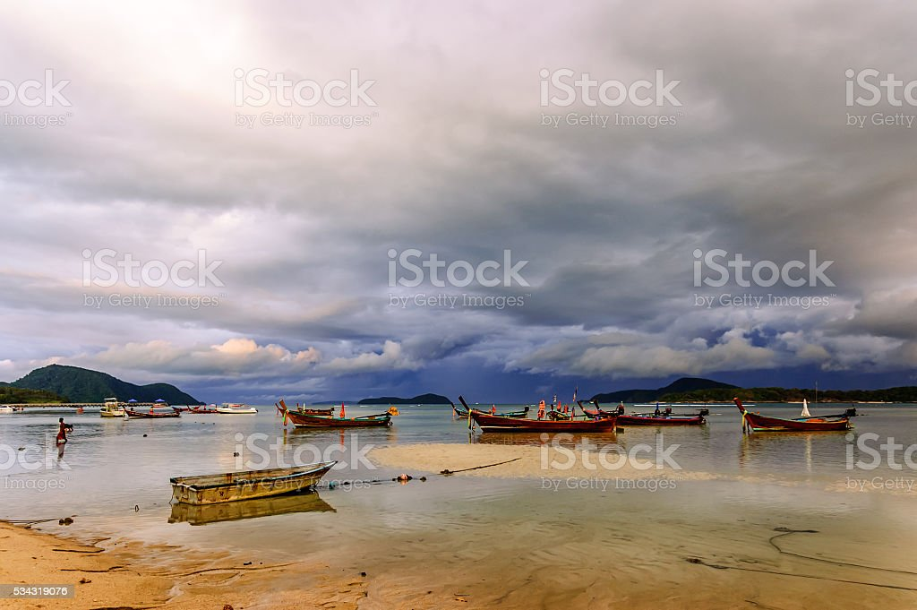 Stranded boats at low tide, Phuket, Thailand stock photo