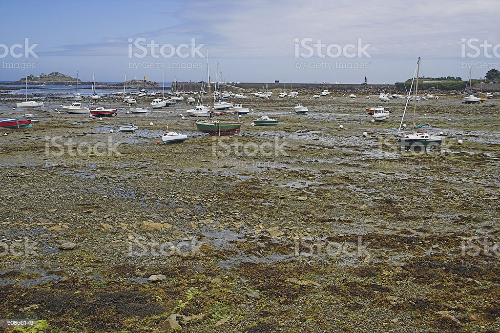 Stranded boats in Brittany stock photo