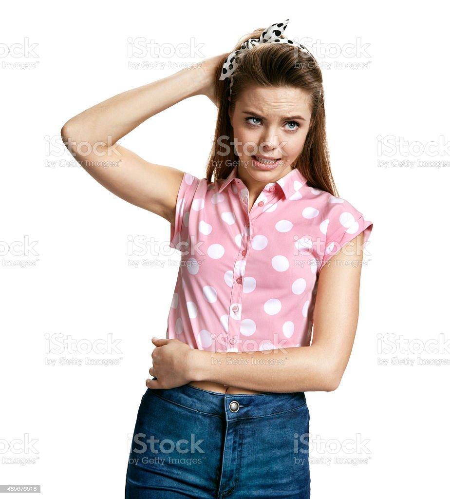 Stranded girl stock photo