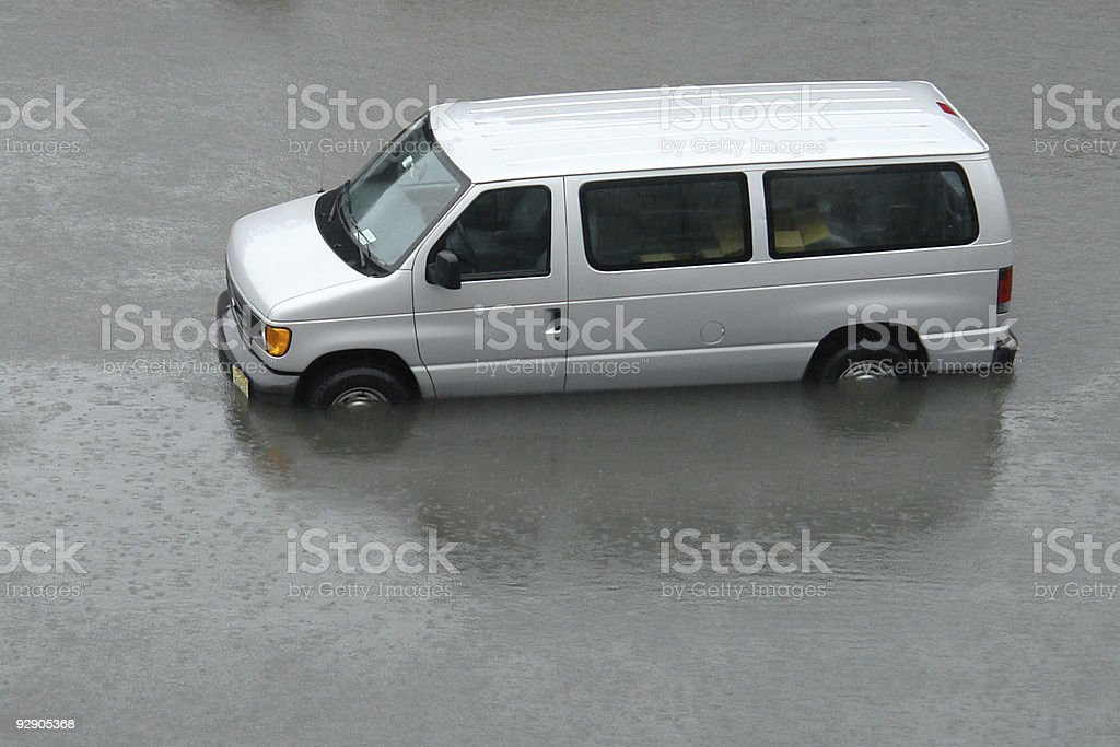 stranded gray van in the flood waters royalty-free stock photo