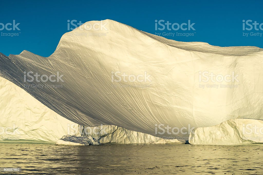Stranded icebergs at the mouth of the Icefjord Ilulissat, Greenland stock photo