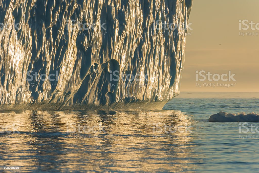 Stranded icebergs at the mouth of the Icefjord, Ilulissat, Greenland stock photo