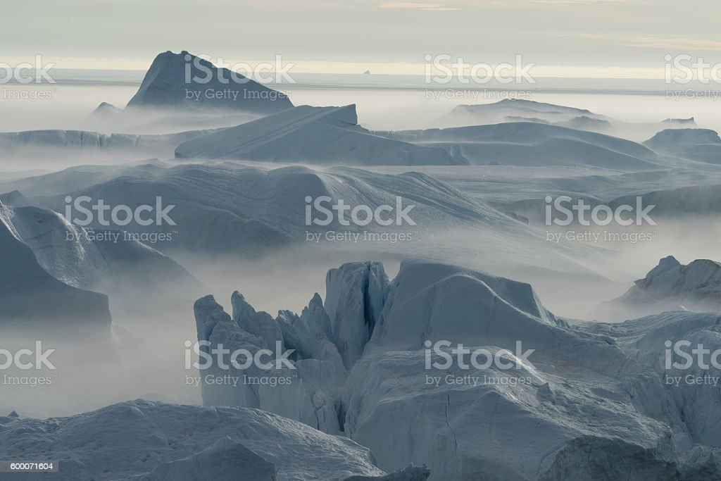Stranded icebergs, Icefjord, Ilulissat, Greenland stock photo