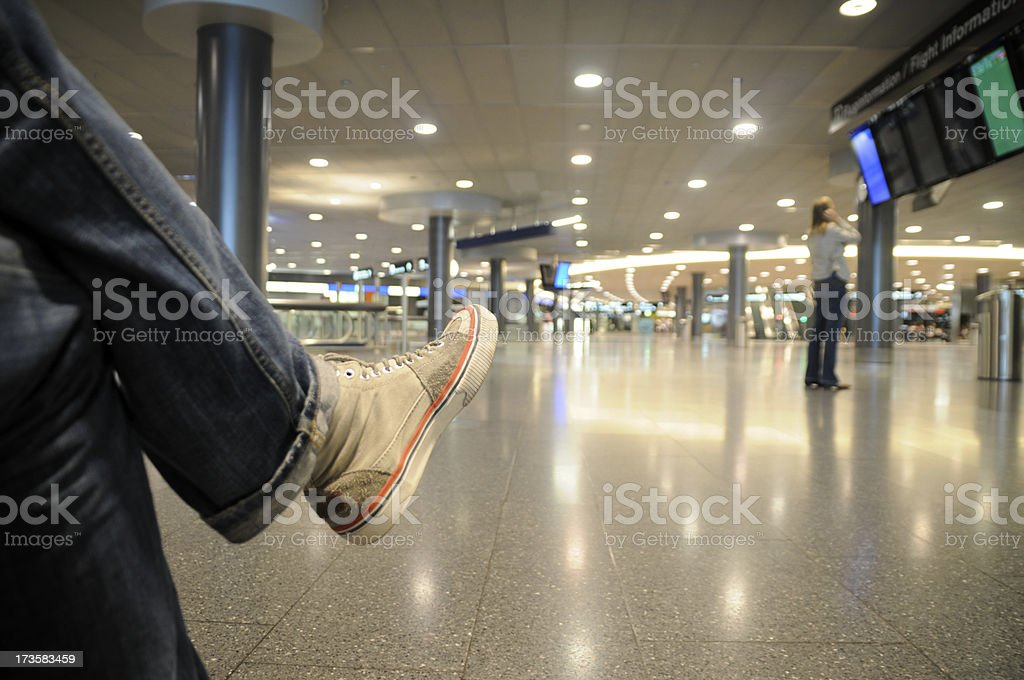 stranded on an airport royalty-free stock photo