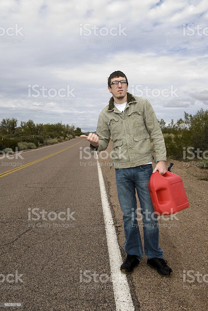 Stranded on road without gasoline royalty-free stock photo