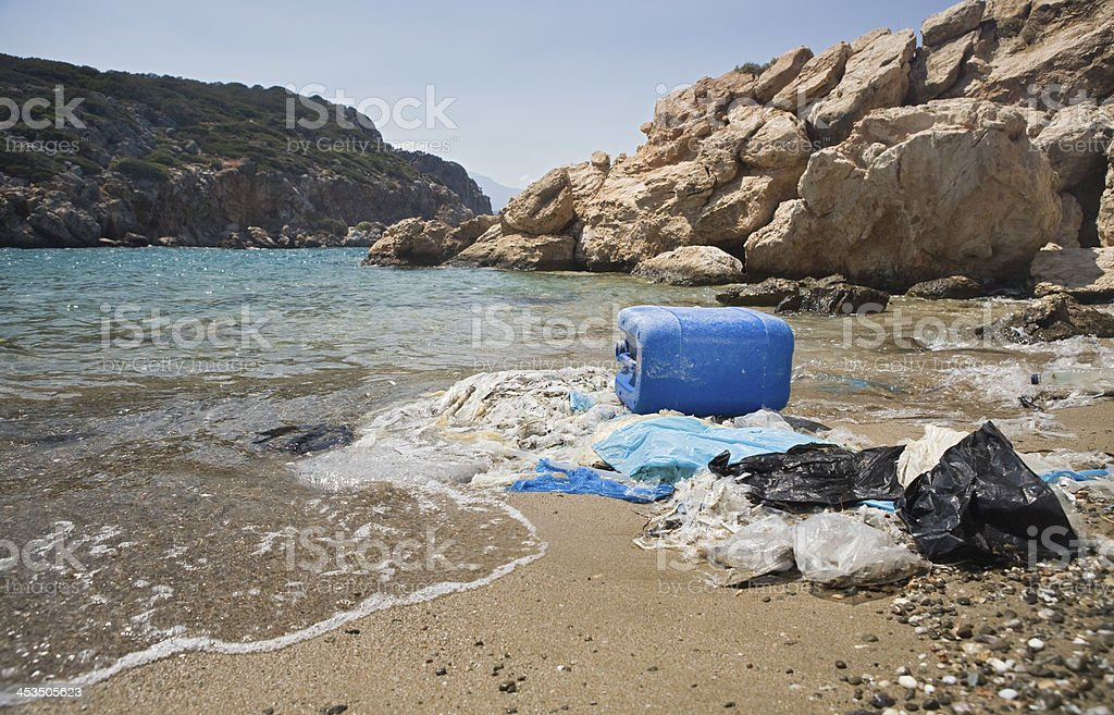 stranded plastic waste royalty-free stock photo