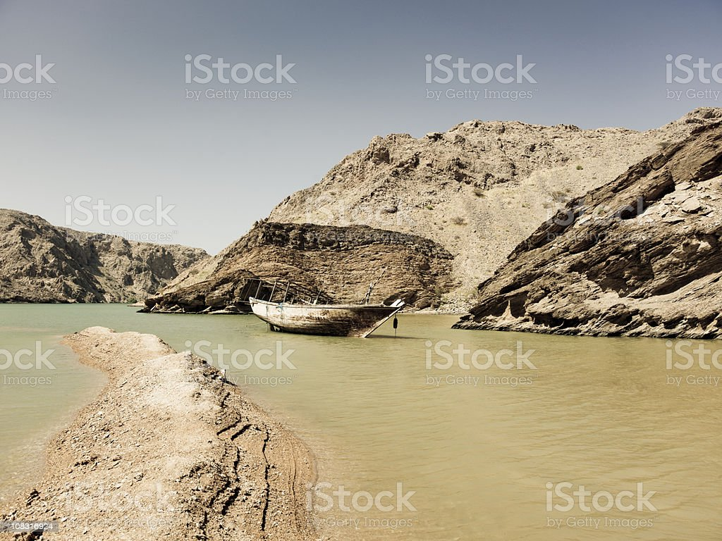 Stranded Traditional Dhow Wreck Oman royalty-free stock photo