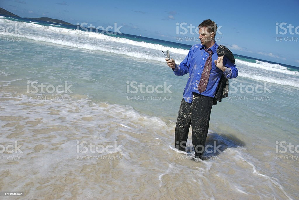 Stranded Traveling Businessman Making Urgent Call on Mobile royalty-free stock photo