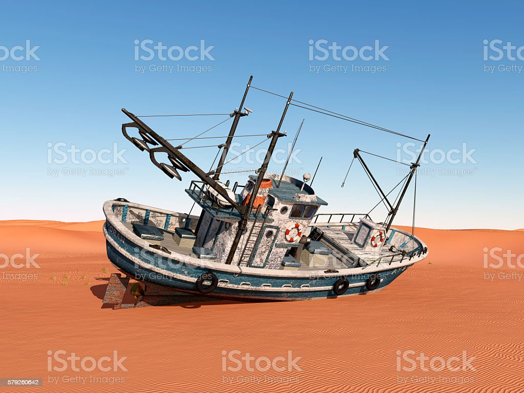 Stranded trawler stock photo