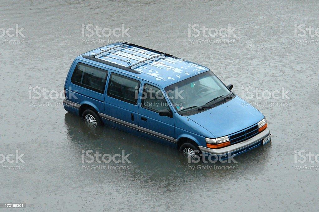 stranded van in rising flood waters royalty-free stock photo