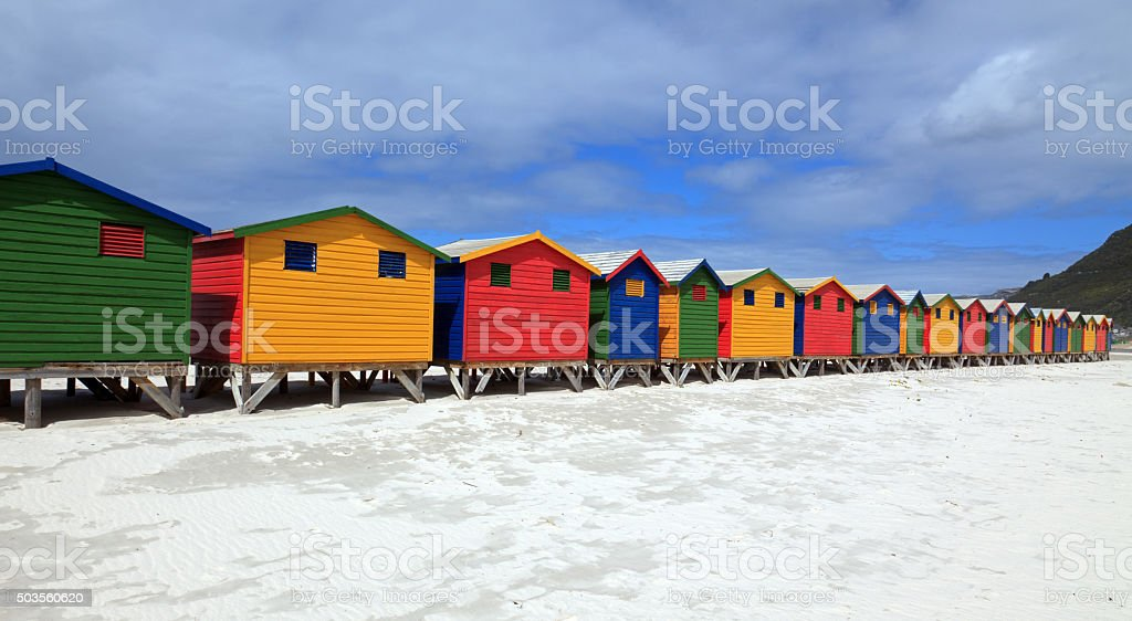 Strandhäuser in Muizenberg stock photo