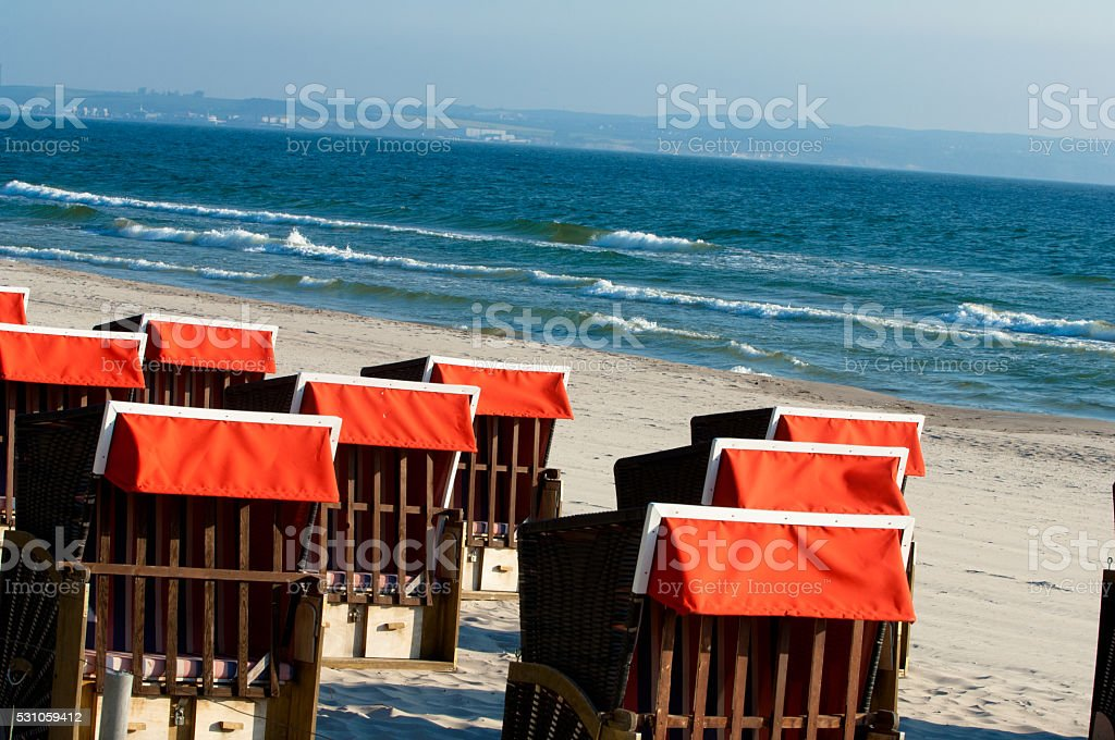Strandkörbe, beach chairs stock photo