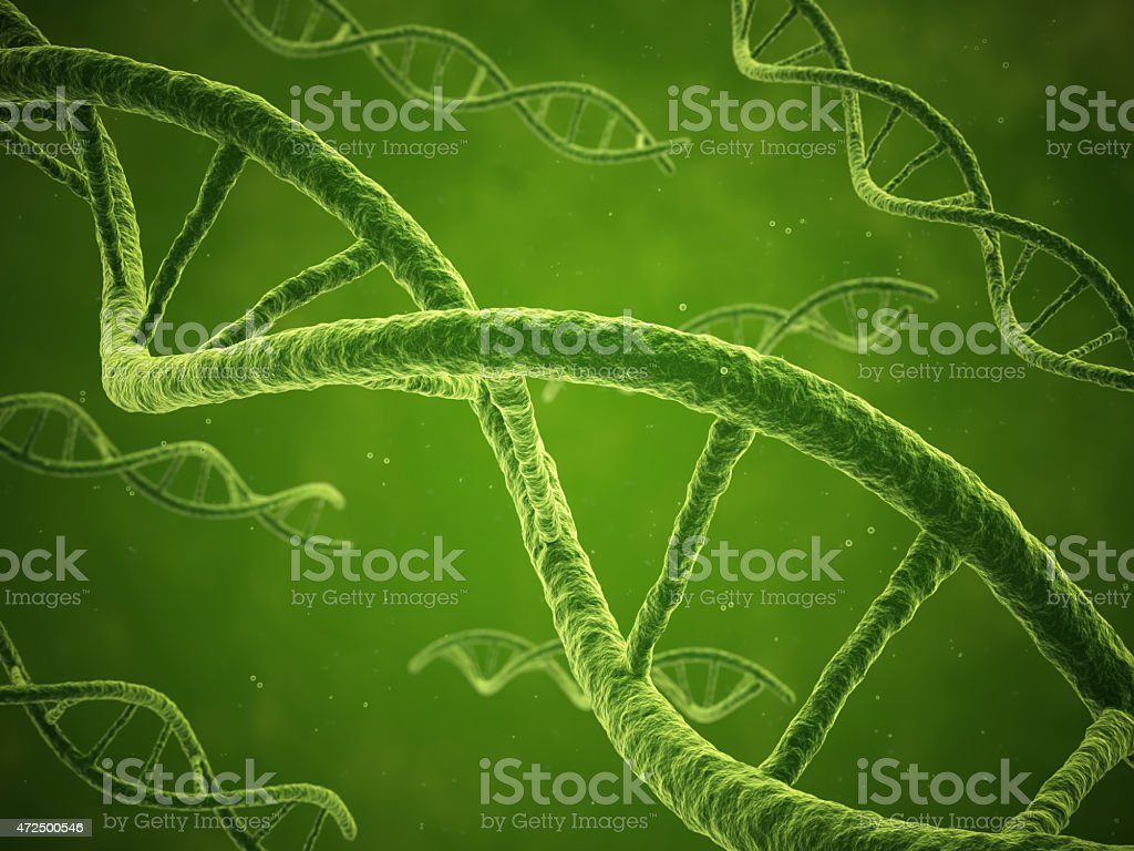 DNA strands floating through a green liquid stock photo