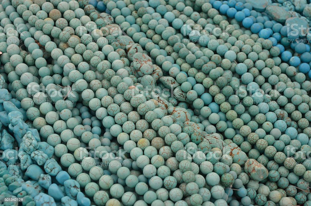 Strands of Blue Magnesite Beads stock photo