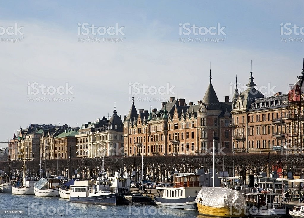 Strandvägen, Stockholm with old buildings and boats on the quay. royalty-free stock photo
