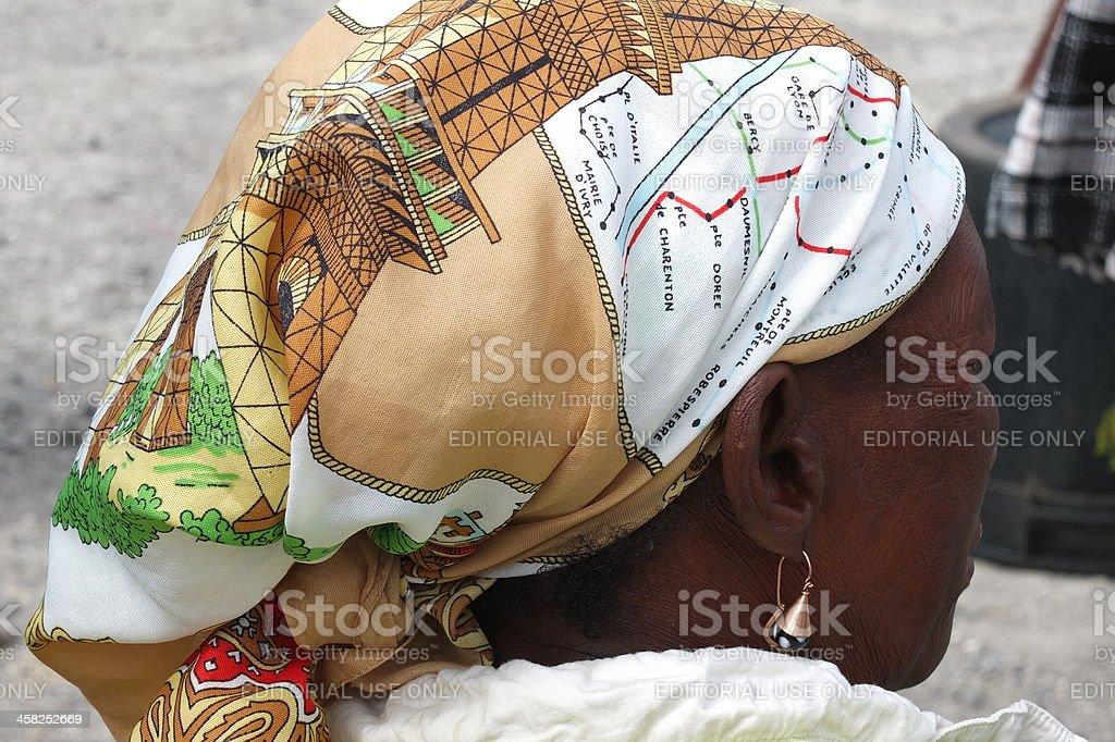 Strange African headscarf. royalty-free stock photo