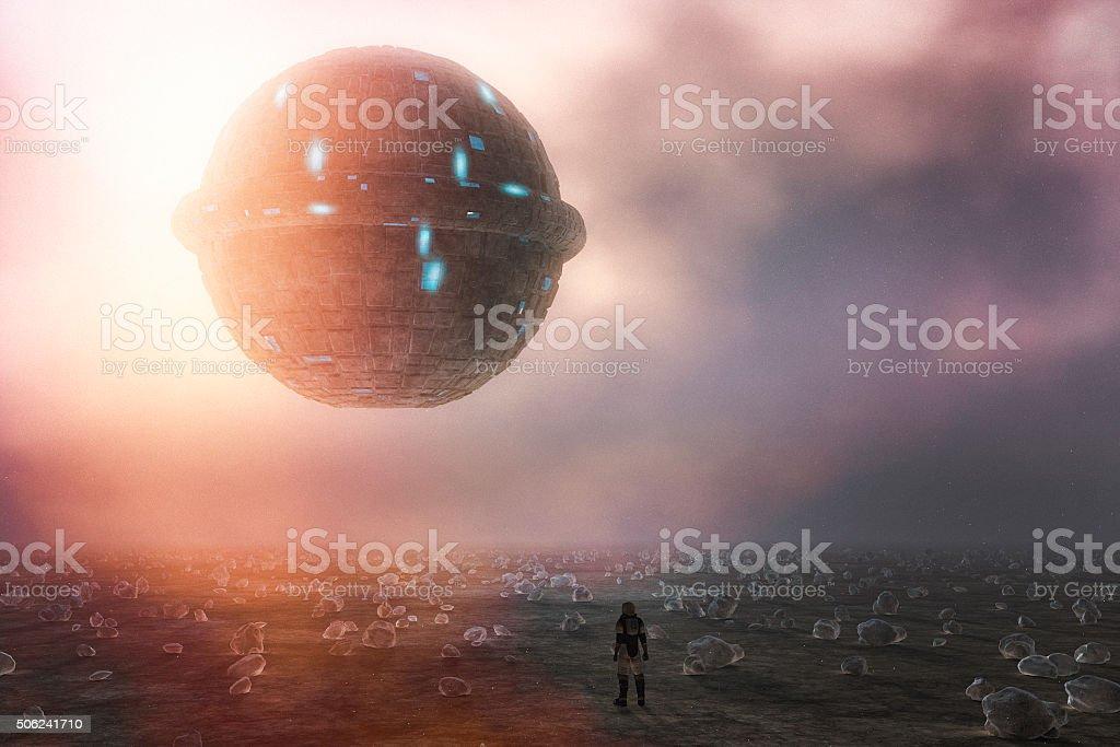 Strange alien UFO sphere, planet, astronaut stock photo