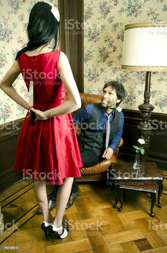 Strange couple in vintage room stock photo