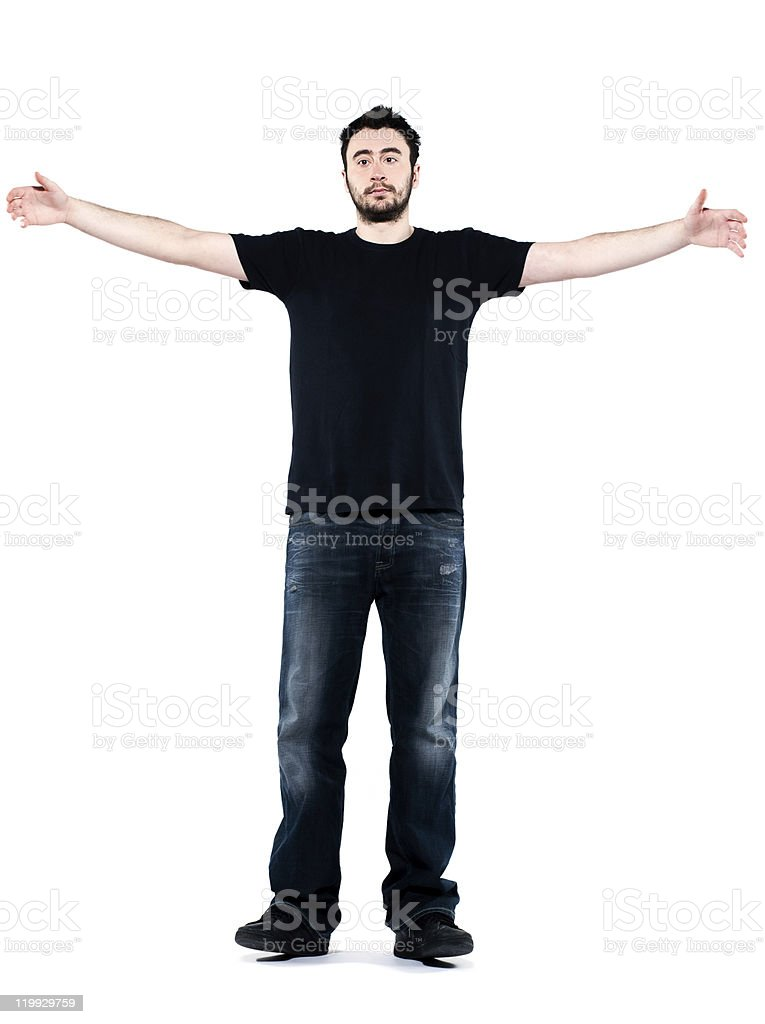 strange expressive man arms outstreched welcoming stock photo