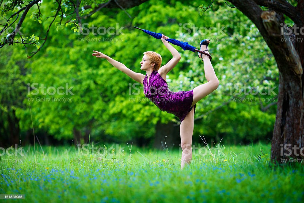 Strange gymnastics in the park royalty-free stock photo