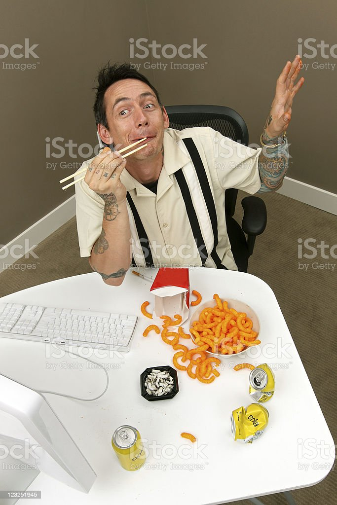 Strange man in front of the computer stock photo