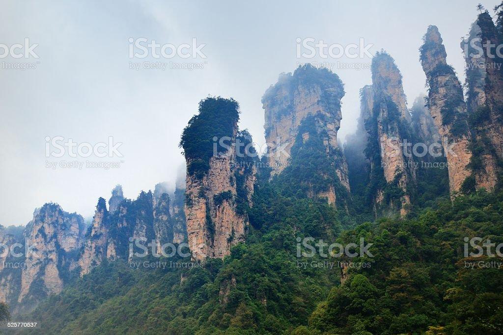 Strange mountain Peaks in the rain stock photo
