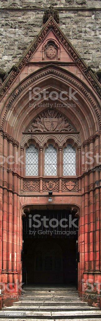 Strange Red Church Door panorama, Derry, Northern Ireland stock photo