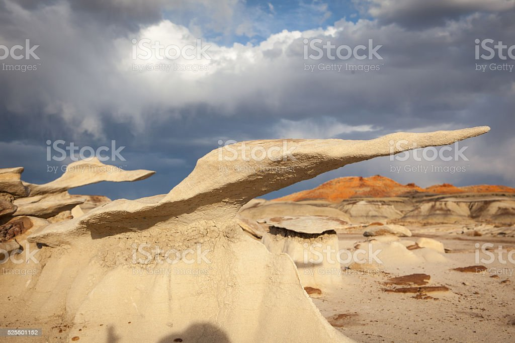 Strange rock formations in Bisti Badlands of New Mexico stock photo