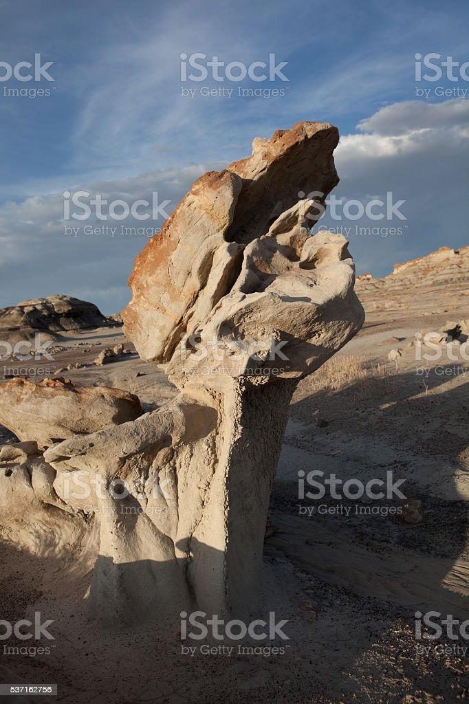 Strange rock formations in Bisti Badlands of New Mexico stock photo