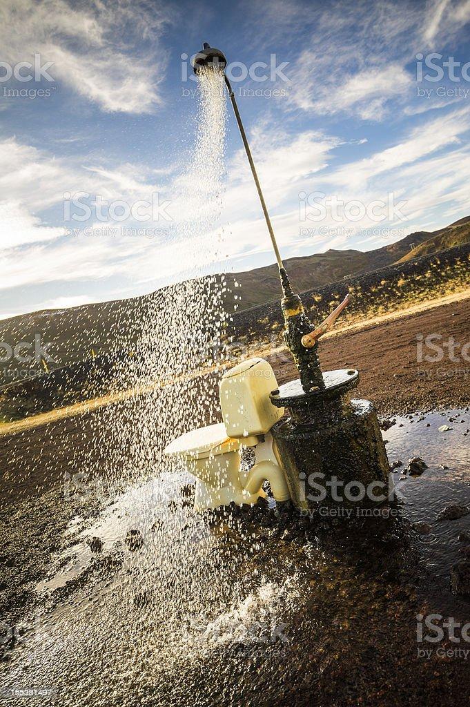 strange rural outdoor shower royalty-free stock photo
