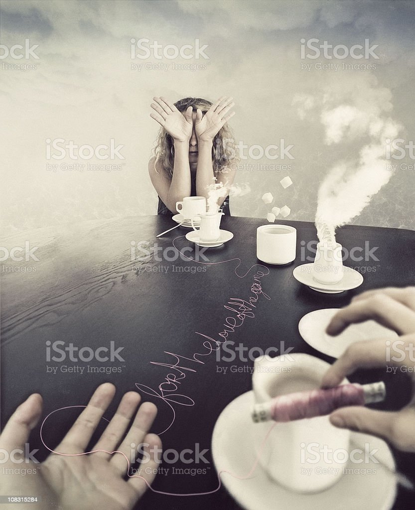 strange tea-party stock photo