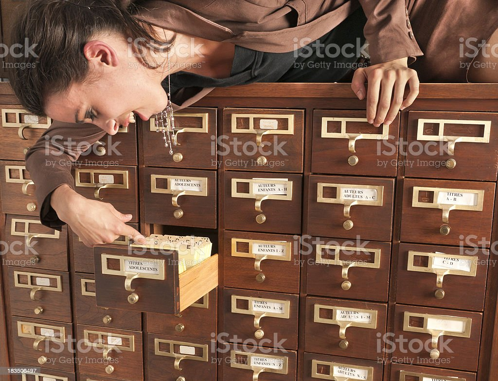 Strange woman at the library royalty-free stock photo