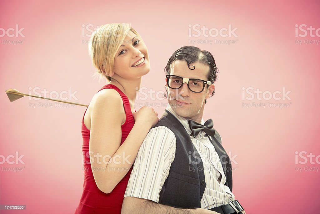 Strange young couple in love on valentine royalty-free stock photo