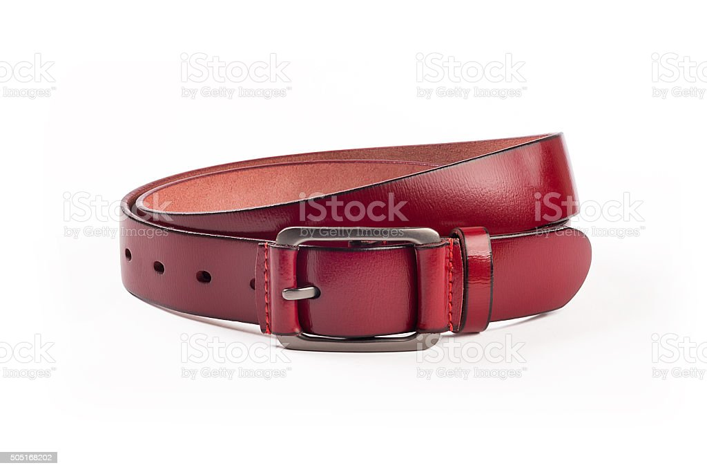 Strap red leather, leather red belt isolated stock photo