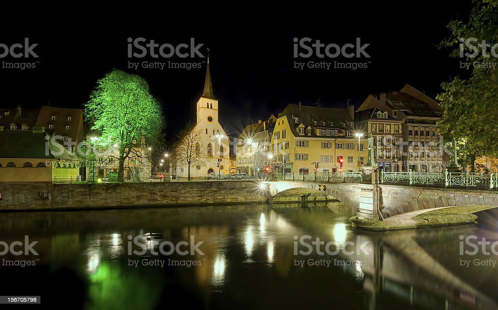 Strasbourg at night royalty-free stock photo