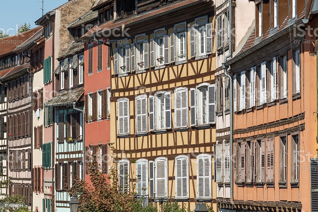 Strasbourg: Beautiful half-timbered houses in the Quarter La Petite France stock photo