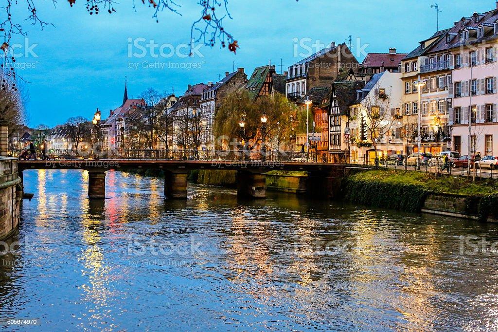 Strasbourg bridge in sunset stock photo