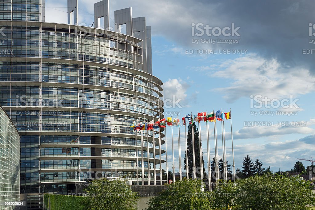 Strasbourg: Building of the European Parliament (The Louise Weiss Building) stock photo