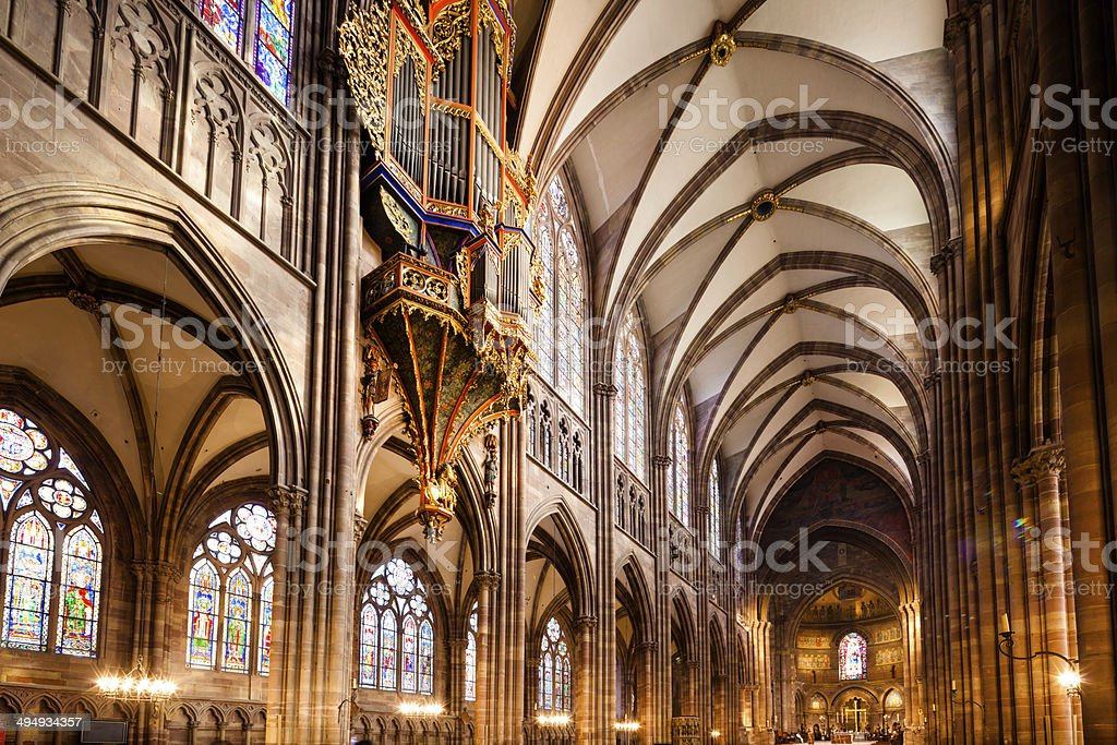 Strasbourg Cathedral Interior stock photo