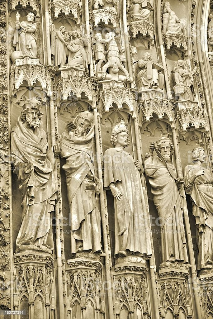 Strasbourg Cathedrale Notre Dame. Figures from the Main Portal. stock photo